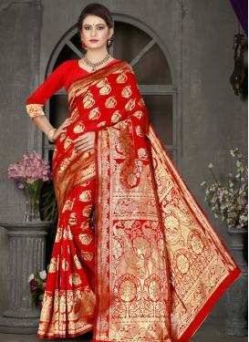 Jacquard Silk Designer Contemporary Saree For Casual