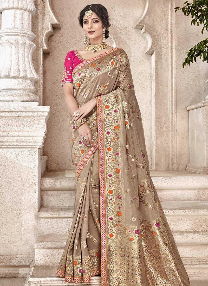 Jacquard Silk Designer Contemporary Style Saree