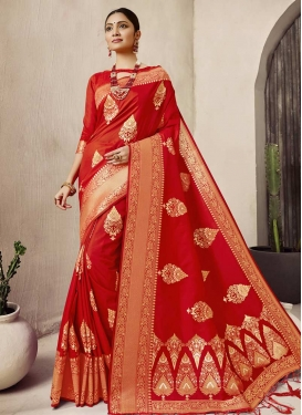 Jacquard Silk Designer Contemporary Style Saree