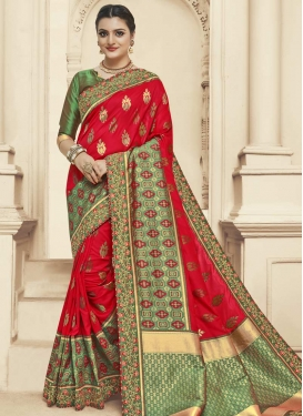 Jacquard Silk Designer Traditional Saree For Ceremonial