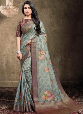 Jacquard Silk Digital Print Work Contemporary Style Saree