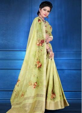 Jacquard Silk Digital Print Work Designer Contemporary Saree