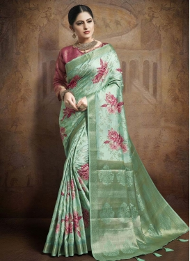Jacquard Silk Digital Print Work Designer Contemporary Saree