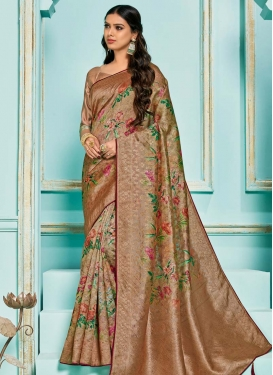 Jacquard Silk Digital Print Work Designer Contemporary Style Saree