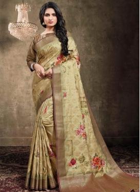 Jacquard Silk Digital Print Work Designer Contemporary Style Saree