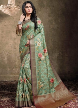 Jacquard Silk Digital Print Work Trendy Classic Saree