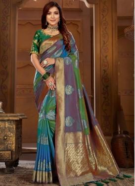 Jacquard Silk Embroidered Work Designer Contemporary Style Saree