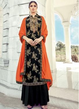 Jacquard Silk Embroidered Work Palazzo Style Pakistani Salwar Kameez
