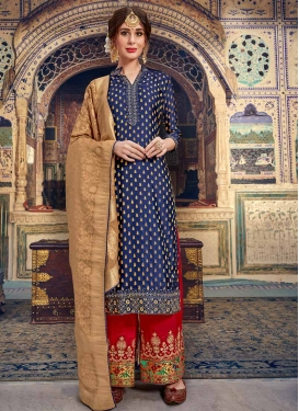 Jacquard Silk Embroidered Work Palazzo Style Pakistani Salwar Suit