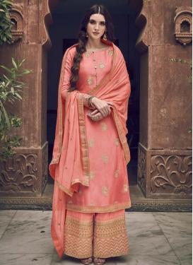 Jacquard Silk Embroidered Work Palazzo Style Pakistani Salwar Suit