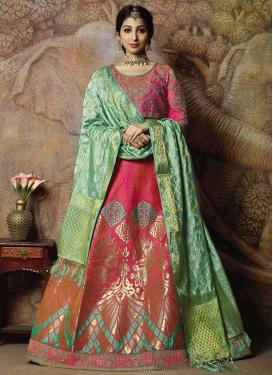 Jacquard Silk Embroidered Work Trendy Lehenga