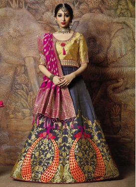 Jacquard Silk Gold and Purple Embroidered Work Lehenga Choli