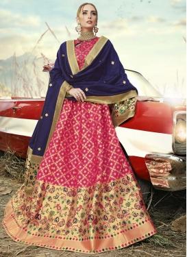 Jacquard Silk Gold and Rose Pink Thread Work A - Line Lehenga