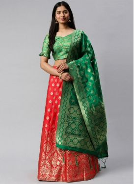 Jacquard Silk Green and Red A Line Lehenga Choli