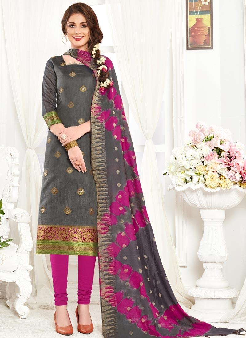 Jacquard Silk Grey and Magenta Trendy Churidar Suit