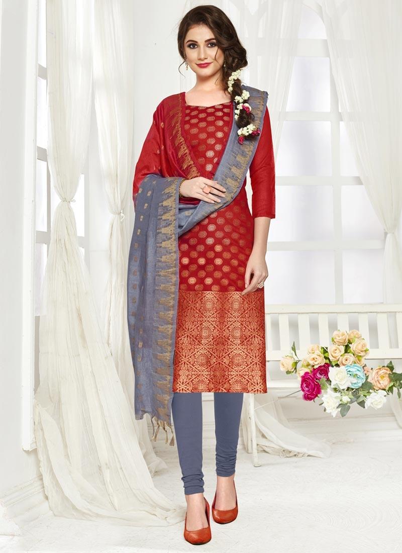 Jacquard Silk Grey and Red Thread Work Trendy Straight Salwar Kameez