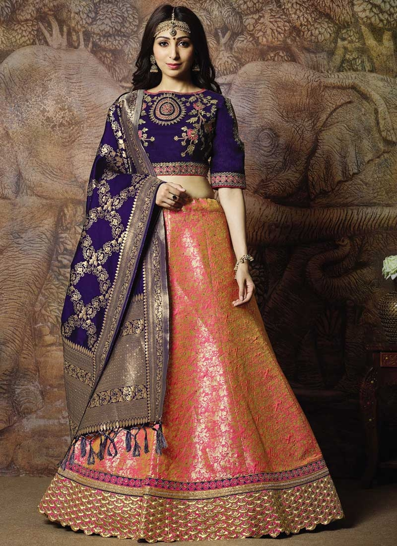 Jacquard Silk Hot Pink and Navy Blue Embroidered Work Trendy A Line Lehenga Choli