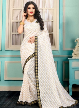 Jacquard Silk Lace Work Designer Contemporary Saree