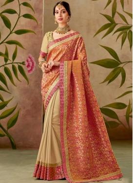 Jacquard Silk Lace Work Designer Half N Half Saree