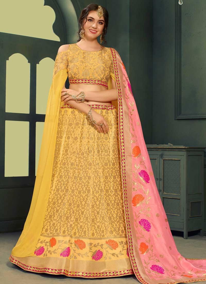 Jacquard Silk Lace Work Trendy A Line Lehenga Choli