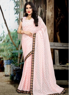 Jacquard Silk Lace Work Trendy Classic Saree