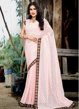 Jacquard Silk Lace Work Trendy Classic Saree