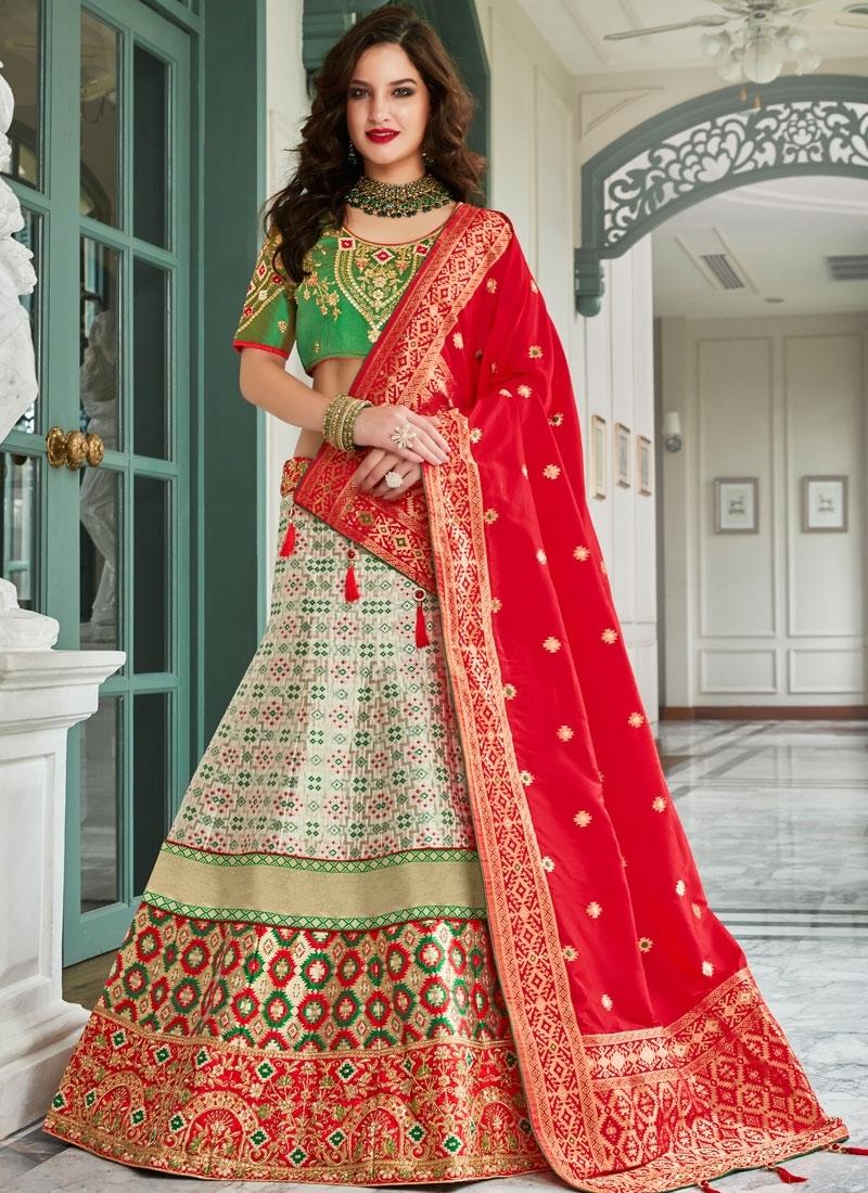 Jacquard Silk Lehenga Choli in Multi Colour