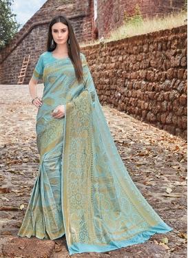 Jacquard Silk Light Blue Weaving Traditional Designer Saree