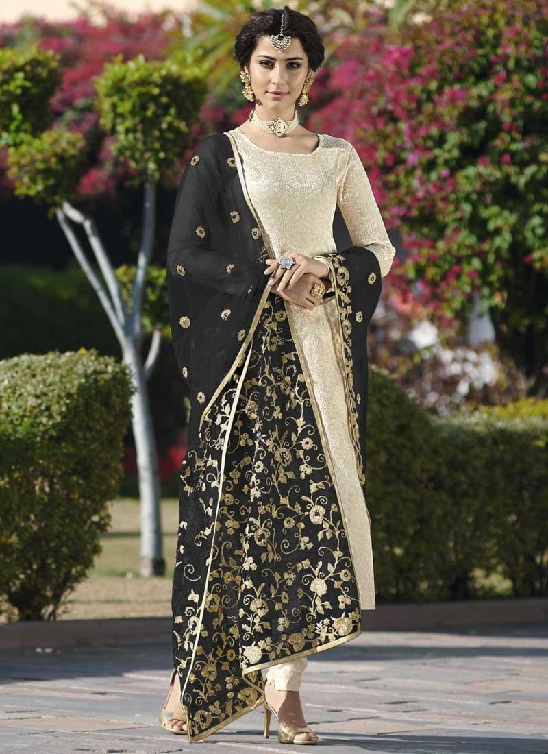 Jacquard Silk Long Length Trendy Pakistani Suit For Festival