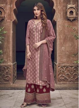 Jacquard Silk Maroon and Pink Palazzo Style Pakistani Salwar Suit