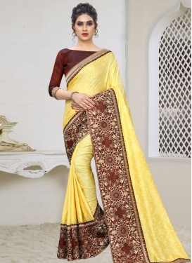 Jacquard Silk Maroon and Yellow Embroidered Work Designer Contemporary Saree