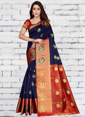Jacquard Silk Navy Blue and Red Woven Work Traditional Designer Saree