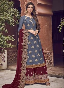 Jacquard Silk Palazzo Style Pakistani Salwar Kameez