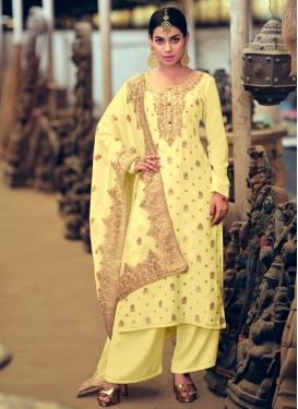 Jacquard Silk Palazzo Style Pakistani Salwar Kameez For Ceremonial