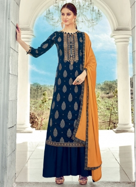 Jacquard Silk Palazzo Style Pakistani Salwar Suit For Ceremonial