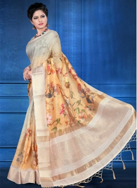 Jacquard Silk Peach and Silver Color Digital Print Work Traditional Designer Saree