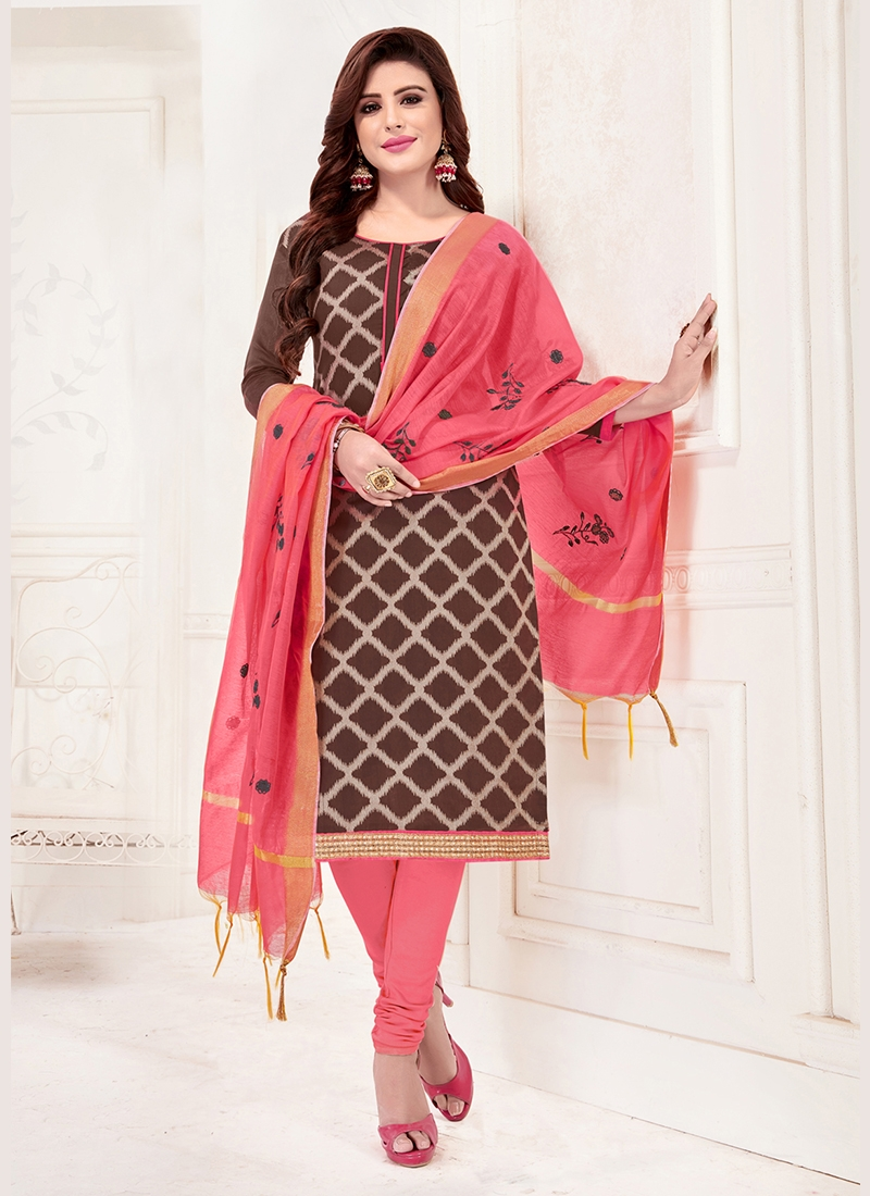 Jacquard Silk Print Brown Churidar Suit