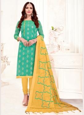 Jacquard Silk Print Turquoise Churidar Suit