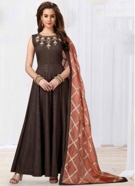 Jacquard Silk Readymade Anarkali Salwar Suit