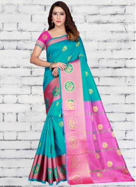Jacquard Silk Rose Pink and Turquoise Designer Contemporary Style Saree
