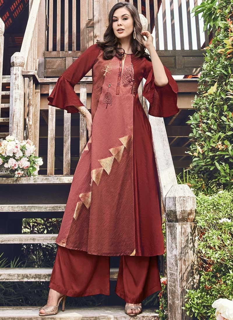 Jacquard Silk Thread Work Readymade Designer Gown