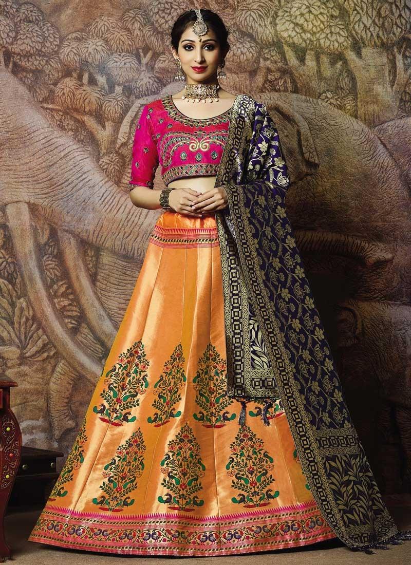 Jacquard Silk Trendy A Line Lehenga Choli For Ceremonial