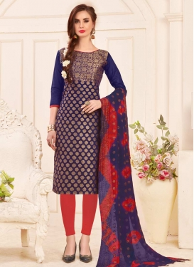 Jacquard Silk Trendy Churidar Suit