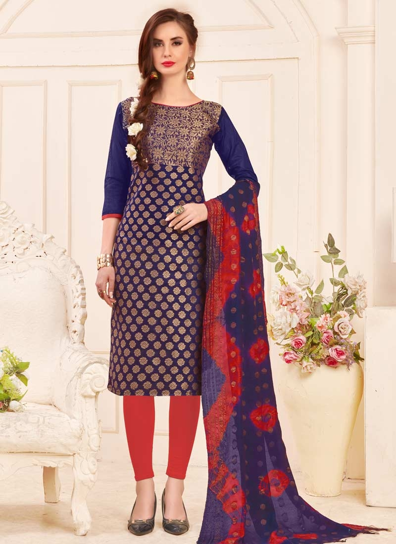 Jacquard Silk Trendy Churidar Suit