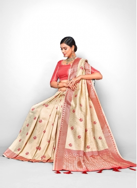 Jacquard Silk Weaving Designer Traditional Saree in Cream