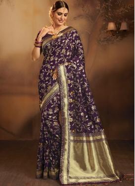 Jacquard Silk Weaving Purple Traditional Saree