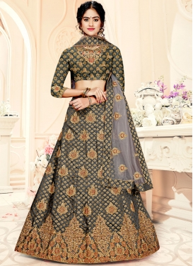 Jacquard Silk Weaving Trendy Lehenga Choli in Grey