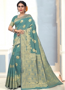 Jacquard Silk Woven Work Contemporary Style Saree