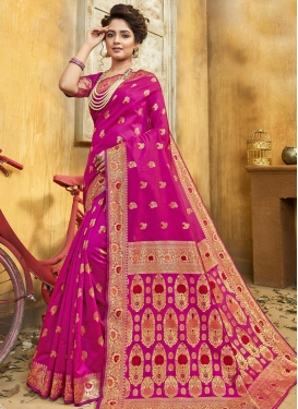 Jacquard Silk Woven Work Designer Contemporary Saree