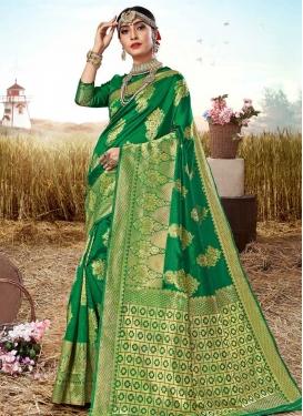 Jacquard Silk Woven Work Designer Contemporary Style Saree